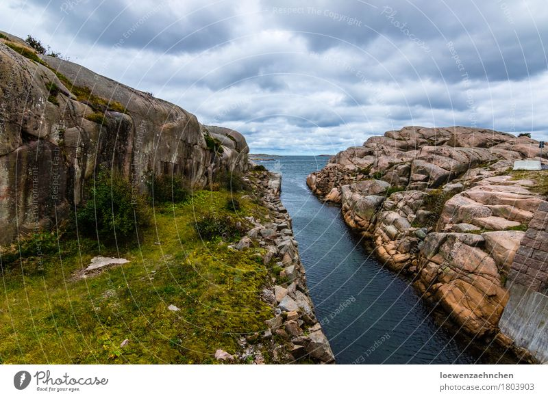 waterway Vacation & Travel Tourism Adventure Far-off places Ocean Nature Landscape Plant Elements Water Clouds Bad weather Rock Coast Bay Baltic Sea Deserted