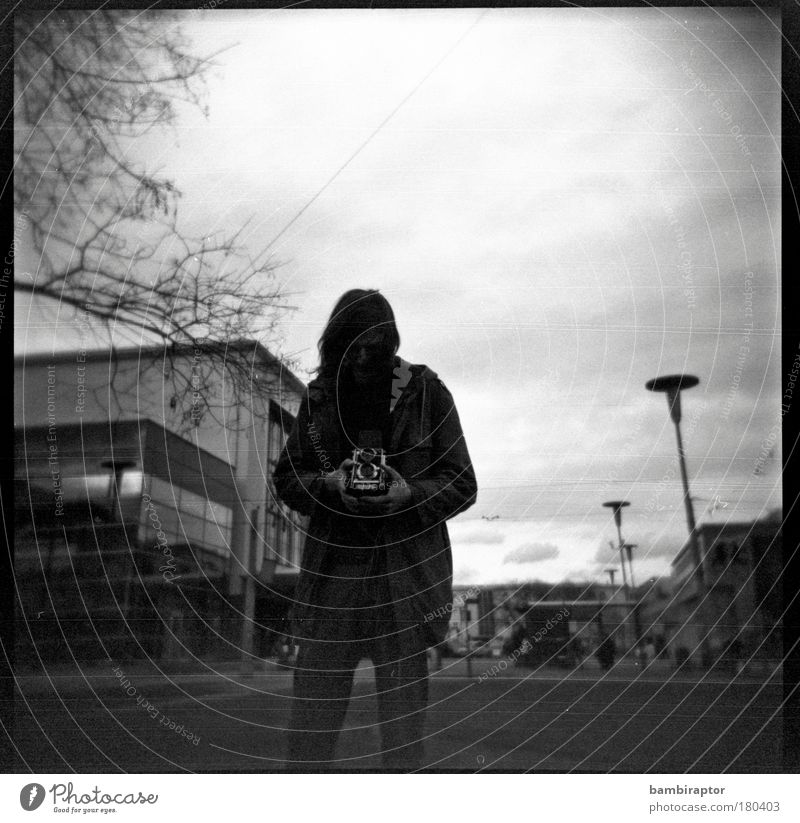 me Camera Young man Youth (Young adults) Train station Looking Moody Analog Take a photo Concentrate Experimental spring Black & white photo Exterior shot Holga