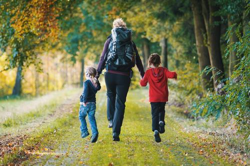 Human being Child Youth (Young adults) Joy Forest 18 - 30 years Adults Life Autumn Feminine Family & Relations Happy Jump Leisure and hobbies Hiking Body