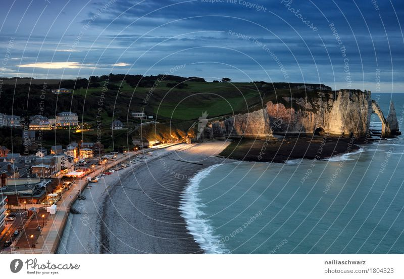 Beach of Etretat Vacation & Travel Landscape Night sky Rock Coast Ocean Atlantic Ocean Cliff France Normandie Small Town Port City Deserted
