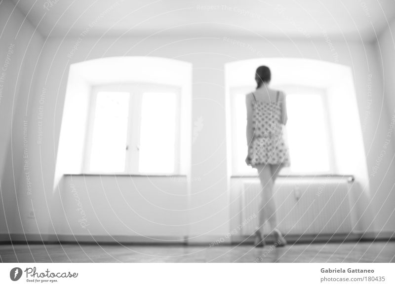 Human being Youth (Young adults) Calm Adults Window Feminine Young woman Bright Room Wait Stand Woman Individual Dress Clothing Longing