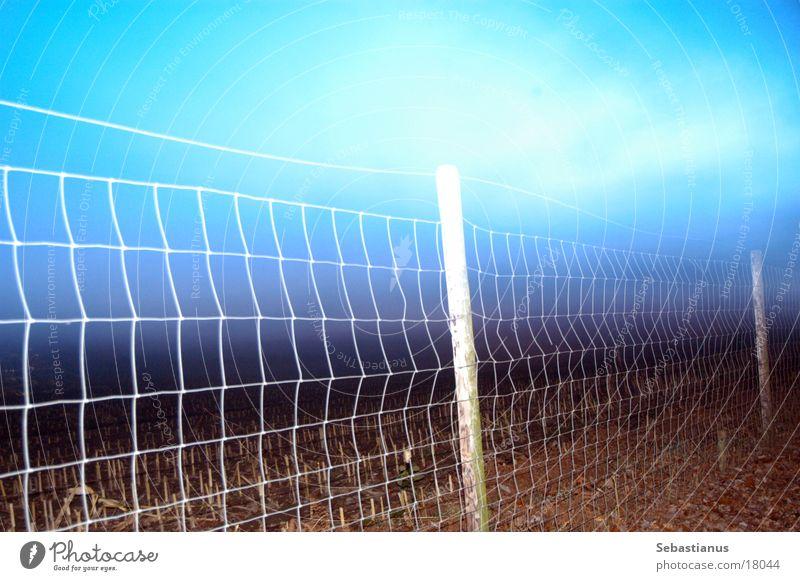 Fence at dusk Twilight Long exposure Field Dusk Fence post Sky Back-light Wire netting Wire netting fence Boundary Deserted Exterior shot