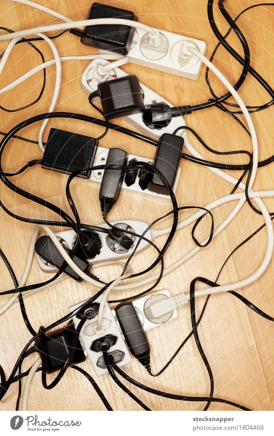 Cable mess Multiple Electricity Many European Connection Story Object photography Problem Electronics Consumption Power transmission