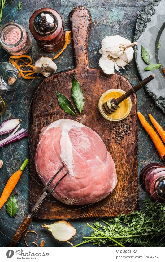 Pork ham roast with ingredients Food Meat Vegetable Herbs and spices Cooking oil Nutrition Lunch Dinner Banquet Business lunch Organic produce Crockery Fork