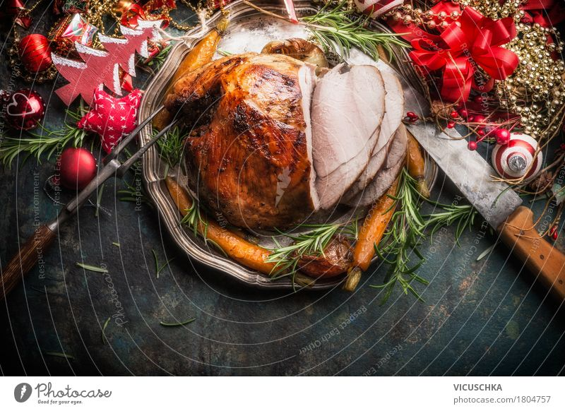 Traditional ham roast with Christmas decoration Food Meat Vegetable Herbs and spices Nutrition Lunch Banquet Crockery Plate Cutlery Knives Fork Style Design