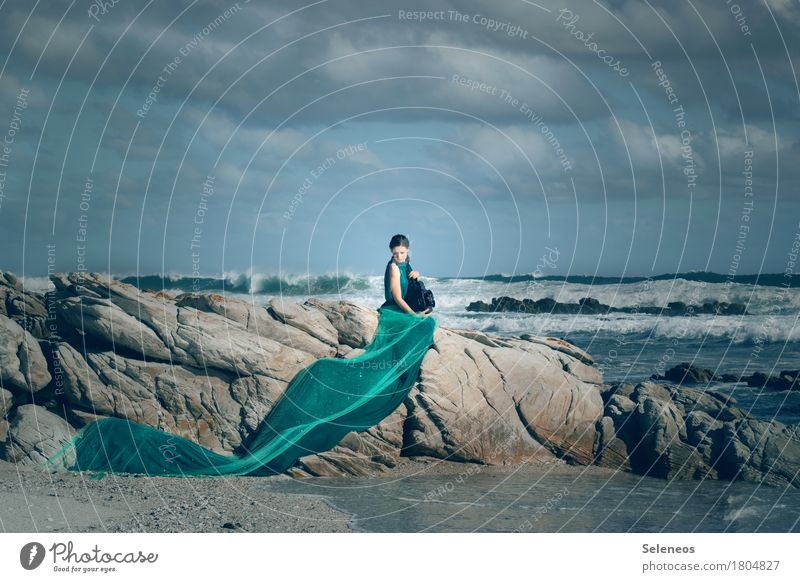 my sea Far-off places Freedom Summer Beach Ocean Waves Human being Feminine Woman Adults 1 Nature Landscape Water Sky Clouds Horizon Gale coast Dress Lantern