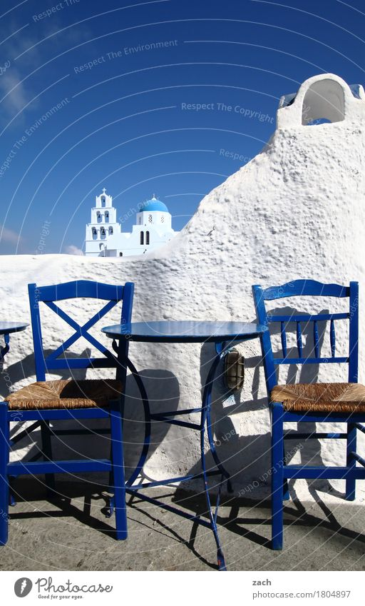 Vacation & Travel Blue White Ocean House (Residential Structure) Wall (building) Wall (barrier) Facade Church Table Island Tower Chair Gastronomy Village