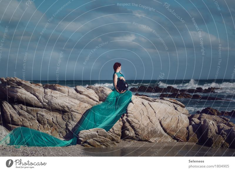 be the sea Adventure Far-off places Freedom Human being Feminine Woman Adults 1 Environment Nature Landscape Water Sky Clouds Horizon Rock Waves Coast Ocean