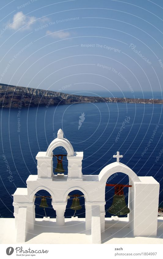 On the Abyss Vacation & Travel Sky Clouds Beautiful weather Rock Volcano Ocean Mediterranean sea Aegean Sea Island Santorini Greece Cyclades Village Old town
