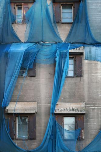 broken blue scaffold net on old factory II Construction site scaffold tarpaulin Factory Manmade structures Building Architecture Wall (barrier) Wall (building)