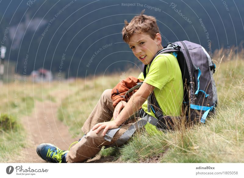 hiking fun Leisure and hobbies Playing Vacation & Travel Trip Adventure Summer vacation Hiking Boy (child) Nature Meadow Alps Mountain Success Calm Relaxation