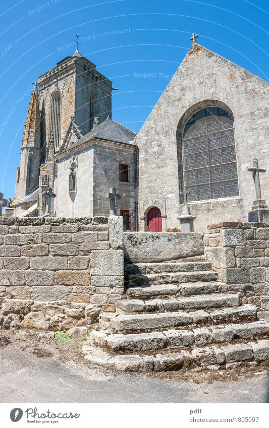 Saint Tugen in Primrose Summer Culture Building Architecture Stairs Stone Old Historic Religion and faith Tradition saint virtue primeline Chapel Brittany