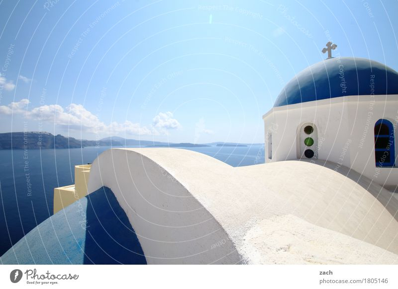 Nature Vacation & Travel Blue Water White Ocean Religion and faith Church Island Beautiful weather Tower Belief Village Cloudless sky Old town Mediterranean sea