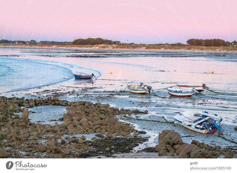 Water Ocean Landscape Beach Coast Stone Sand Rock Watercraft Idyll France Dusk Peaceful Atlantic Ocean Pastel tone Pebble