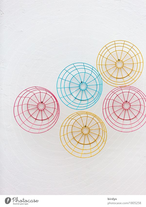 Blue White Red Yellow Style Design Metal Living or residing Decoration Arrangement Esthetic Creativity Uniqueness Simple Round Clean
