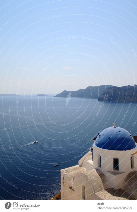 Nature Vacation & Travel Blue Water White Ocean Religion and faith Church Island Beautiful weather Tower Village Cloudless sky Old town Dome Mediterranean sea
