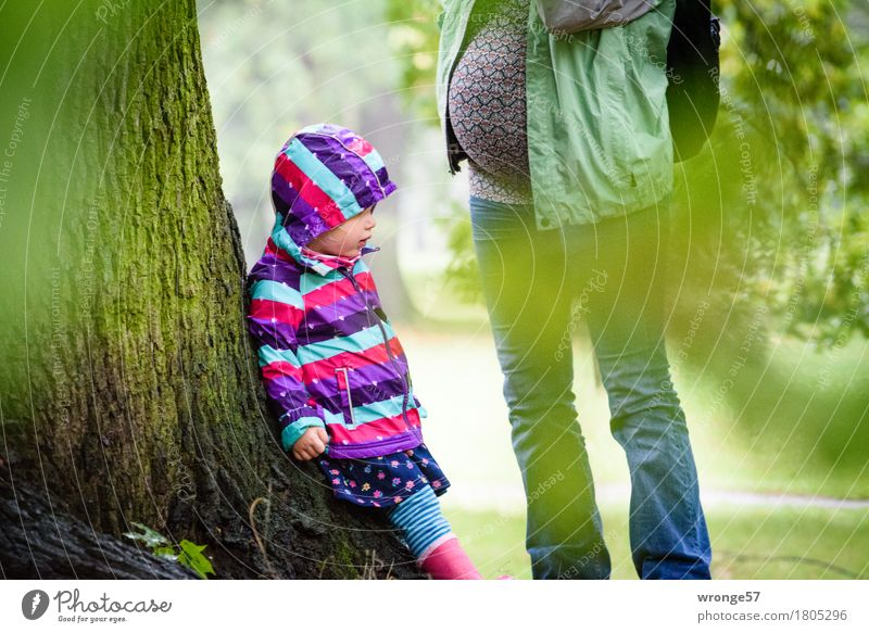 Human being Woman Child Green Tree Relaxation Girl Adults Autumn Feminine Family & Relations Brown Together Park Trip To go for a walk