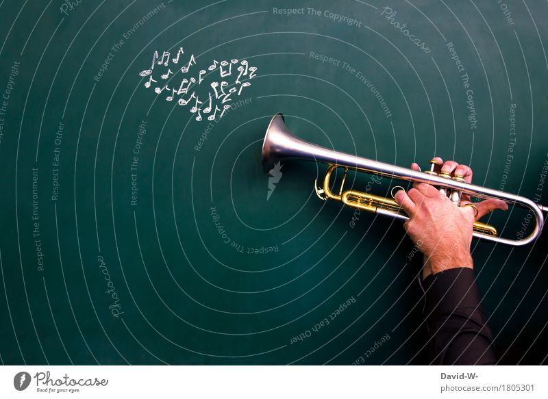 Musician plays trumpet with notes as heart Passion Trumpet Musical instrument Playing emotionally Emotions Melody Artist manner