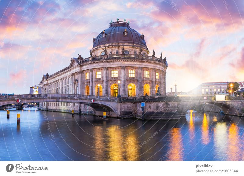 Bode Museum at sunset Vacation & Travel Tourism Sightseeing City trip Night life Water Sunrise Sunset River bank Spree Sea promenade Berlin Downtown Berlin
