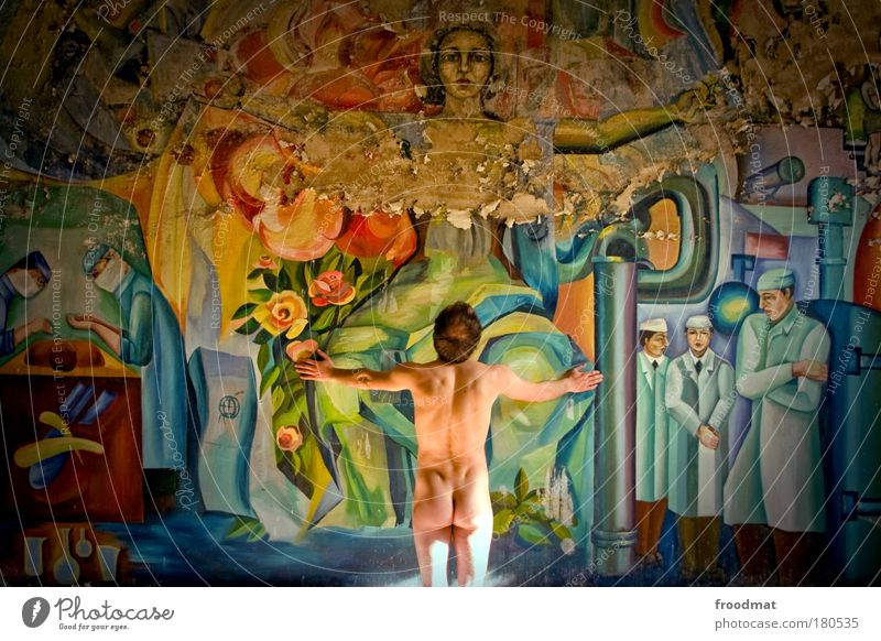 examination room Colour photo Multicoloured Interior shot Pattern Light Wide angle Upper body Rear view Forward Human being Masculine Young man