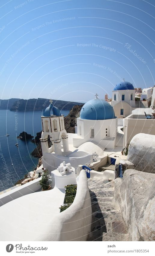 white and blue Vacation & Travel Nature Water Cloudless sky Beautiful weather Ocean Mediterranean sea Aegean Sea Island Cyclades Santorini Caldera Oia Greece