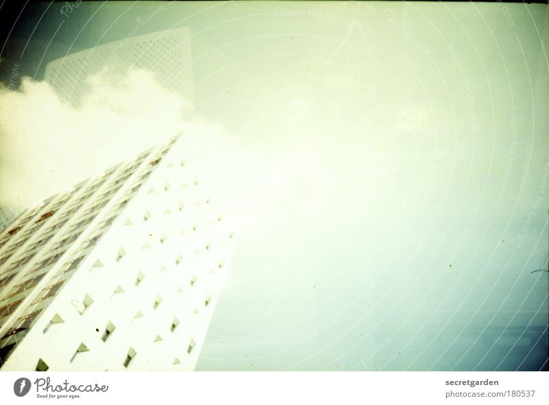 Sky Blue White Green Summer Clouds Cold Architecture Style Facade Elegant Tall Large High-rise Perspective Illuminate