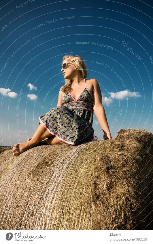 Human being Nature Beautiful Sky Clouds Relaxation Feminine Happy Landscape Fashion Blonde Elegant Free Sit Esthetic