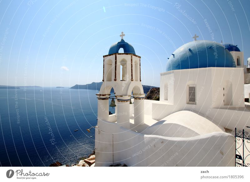 more blue than white Vacation & Travel Nature Water Cloudless sky Beautiful weather Ocean Mediterranean sea Aegean Sea Island Cyclades Santorini Caldera Oia