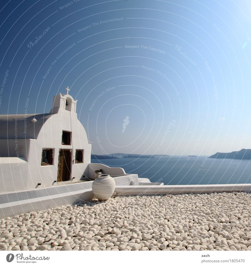 View beyond the rim of the plate Cloudless sky Beautiful weather Hill Coast Ocean Mediterranean sea Aegean Sea Island Cyclades Santorini Thira Caldera Oia