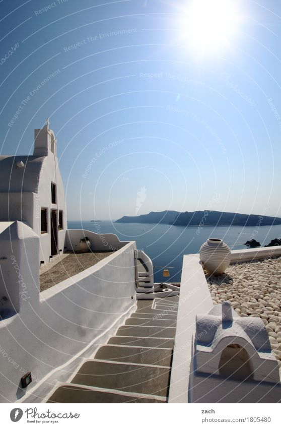 View beyond the rim of the plate Cloudless sky Beautiful weather Hill Coast Ocean Mediterranean sea Aegean Sea Island Cyclades Santorini Thirassia Caldera Oia