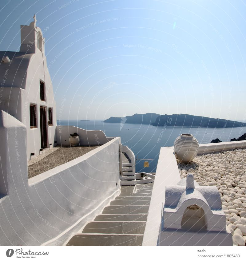 Blue White Ocean House (Residential Structure) Coast Facade Stairs Church Island Beautiful weather Hill Village Cloudless sky Old town Mediterranean sea Greece
