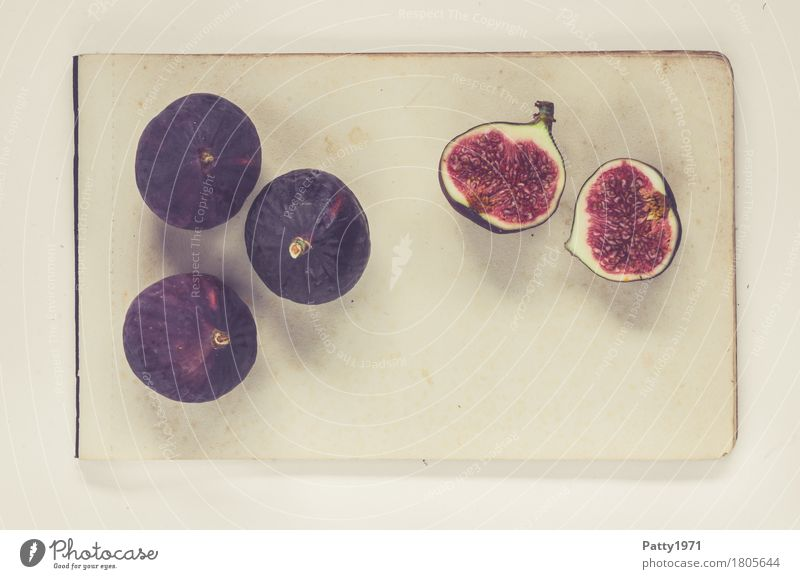 figs Food Fruit Fig Still Life Nutrition Vegetarian diet Paper Piece of paper Fresh Healthy Retro Round Sweet Soft Violet Red To enjoy Colour photo Studio shot