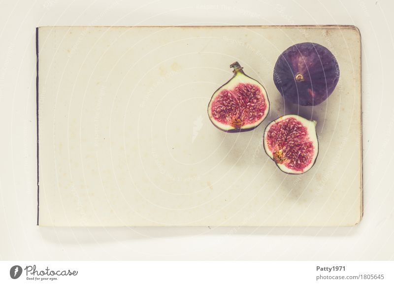 figs Food Fruit Fig Nutrition Vegetarian diet Paper Piece of paper Fresh Healthy Retro Round Juicy Sweet Violet Red To enjoy Still Life Colour photo Studio shot