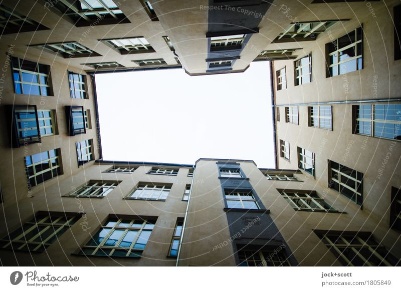 Windows and framed Sky Bad weather Kreuzberg Capital city Downtown Backyard Town house (City: Block of flats) Building Facade Authentic Sharp-edged Large Tall
