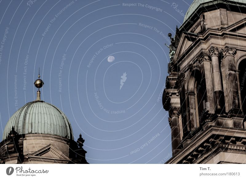 Moon over Berlin Colour photo Exterior shot Deserted Evening Downtown Berlin Germany Europe Capital city House (Residential Structure) Dome Roof