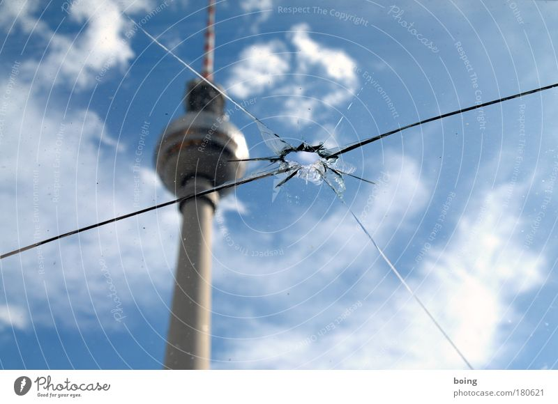 Jump Berlin Germany Europe Television Tower Media Hollow Radio (broadcasting) Landmark Window pane Crack & Rip & Tear Target Aggression Downtown Berlin Berlin TV Tower