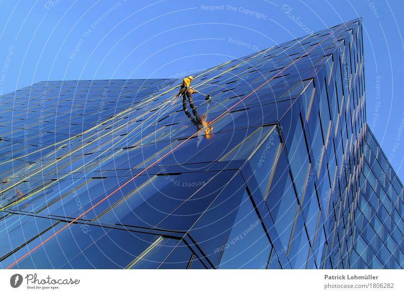 Human being Man City Blue Adults Architecture Building Germany Facade Work and employment Masculine Body High-rise Glass Europe Dangerous