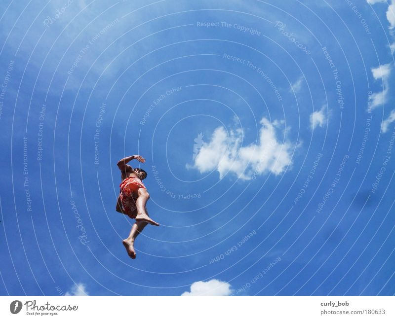 caper Summer Summer vacation Sun Masculine Young man Youth (Young adults) Life 1 Human being Sky Clouds Swimming trunks To fall Flying Jump Free Crazy Blue Joy