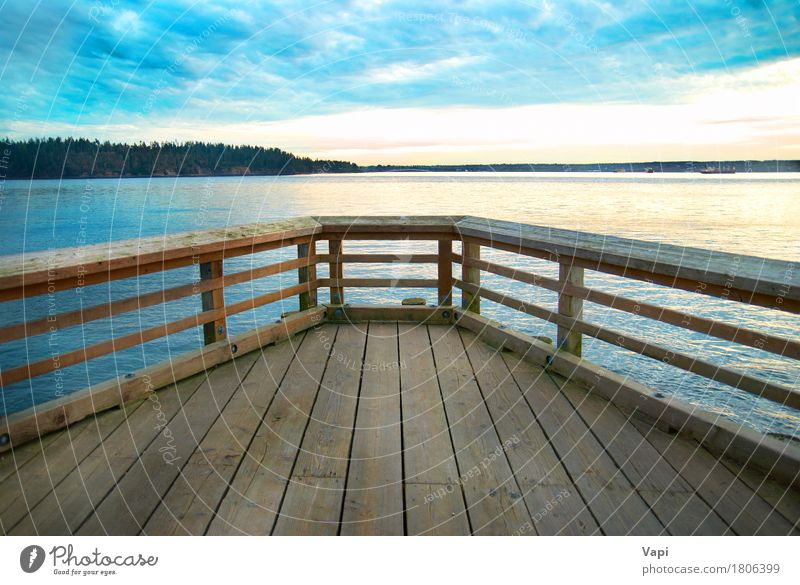 Wooden bridge on the sea coast Sky Nature Vacation & Travel Old Blue Summer Water White Sun Ocean Landscape Relaxation Clouds Beach Dark Black