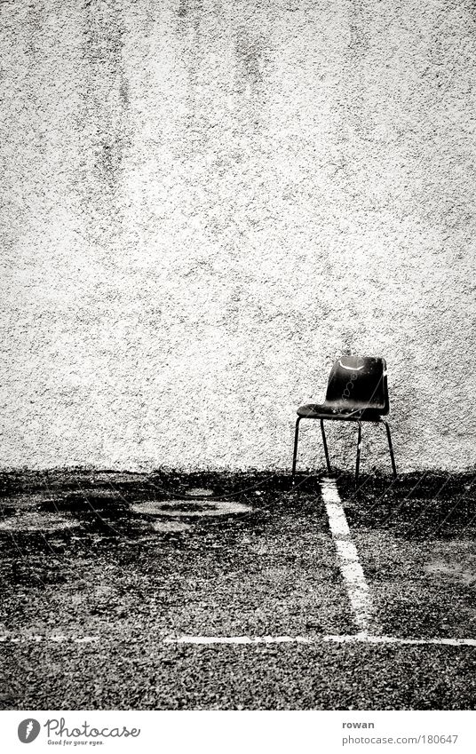 Old Black Loneliness Dark Wall (building) Signs and labeling Empty Places Gloomy Chair Black & white photo Asphalt Trash Manmade structures Parking lot