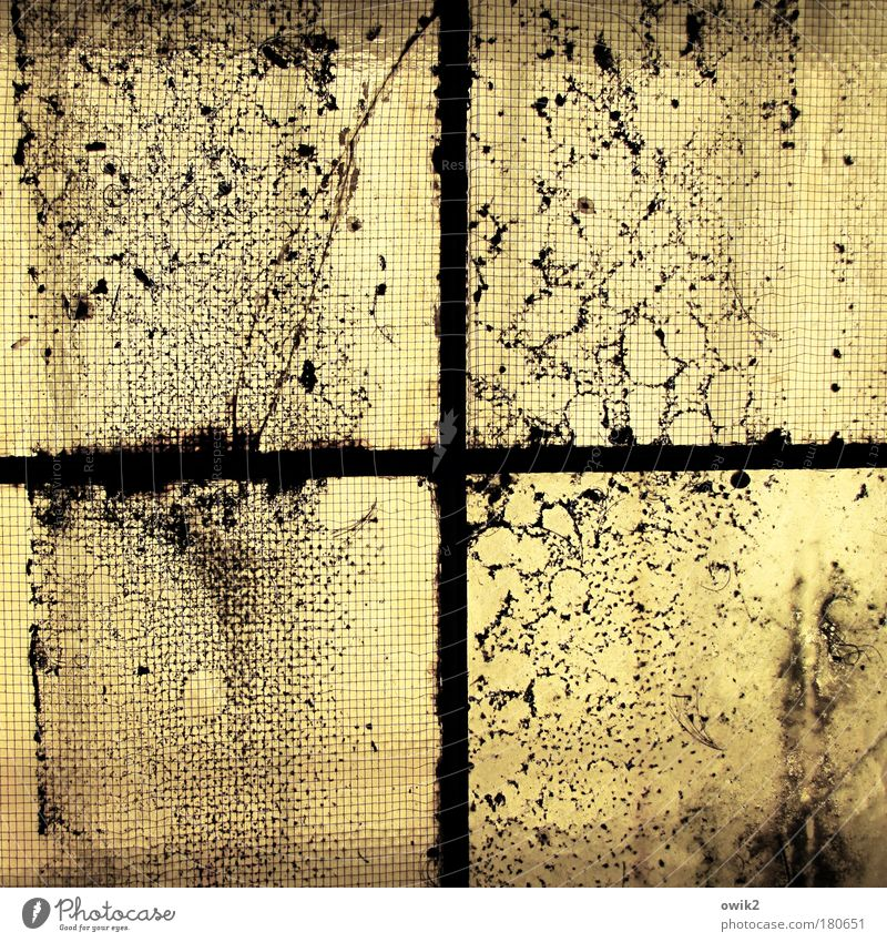 Old Black Yellow Window Above Building Metal Glass Dirty Tall Large Change Uniqueness Transience Net Manmade structures