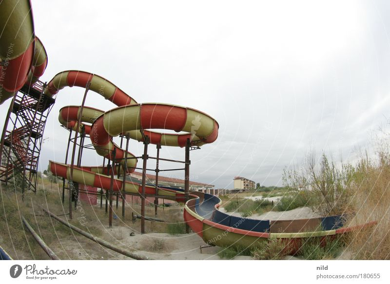 Roadtrip - The forgotten water slide Colour photo Exterior shot Copy Space right Copy Space top Deep depth of field Fisheye Leisure and hobbies Playing