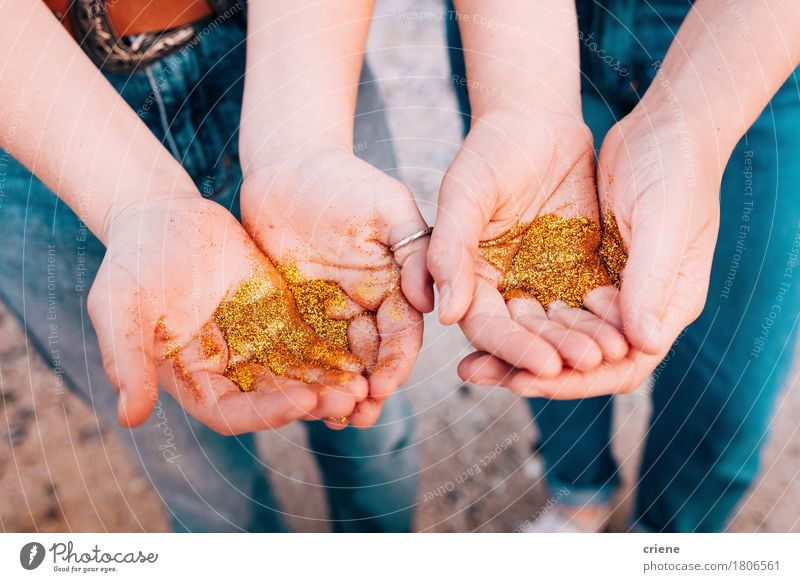 Close up of hands with golden glitter Beautiful Human being Girl Youth (Young adults) Hand Fingers 2 Kitsch Odds and ends Gold Elegant Glitter sparkle shining