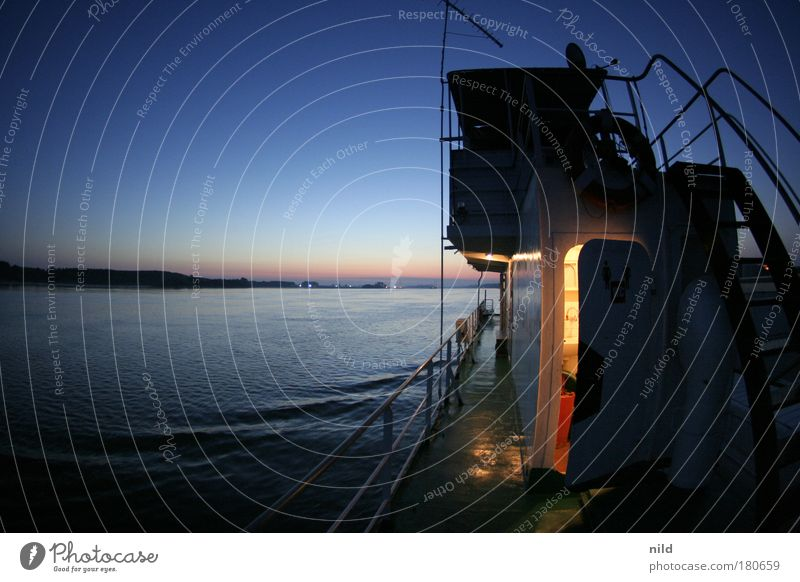 Roadtrip - Danube crossing in the rising sun Colour photo Exterior shot Copy Space left Morning Sunrise Sunset Fisheye Vacation & Travel Cruise