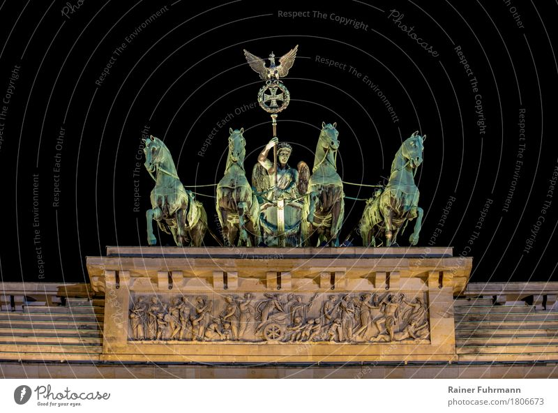 "the Quadriga at the Brandenburg Gate in Berlin Art Work of art Sculpture Architecture ""Bronze Gate"" Town Capital city Manmade structures War Might ""Freedom"