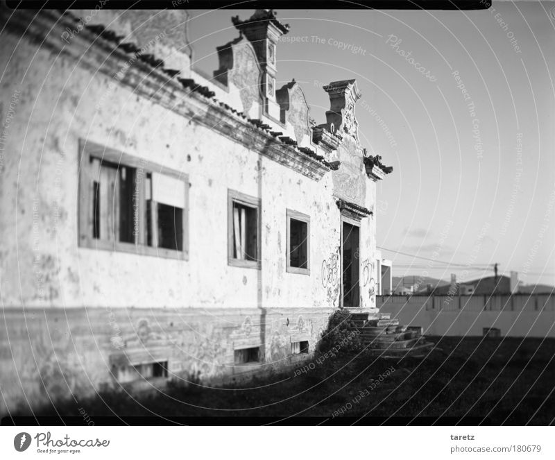 Past splendour Living or residing House (Residential Structure) Portugal Village Deserted Detached house Ruin Wall (barrier) Wall (building) Stairs Facade Door