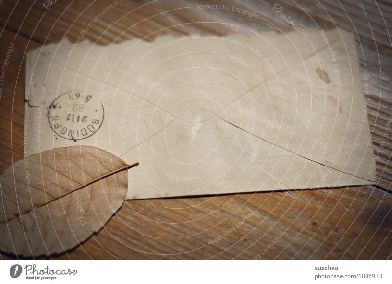 mail Mail Letter (Mail) Envelope (Mail) Postmark Old Yellowed Information correspondence Legacy Retro Memory Nostalgia Reading Paper Leaf Autumn Transience