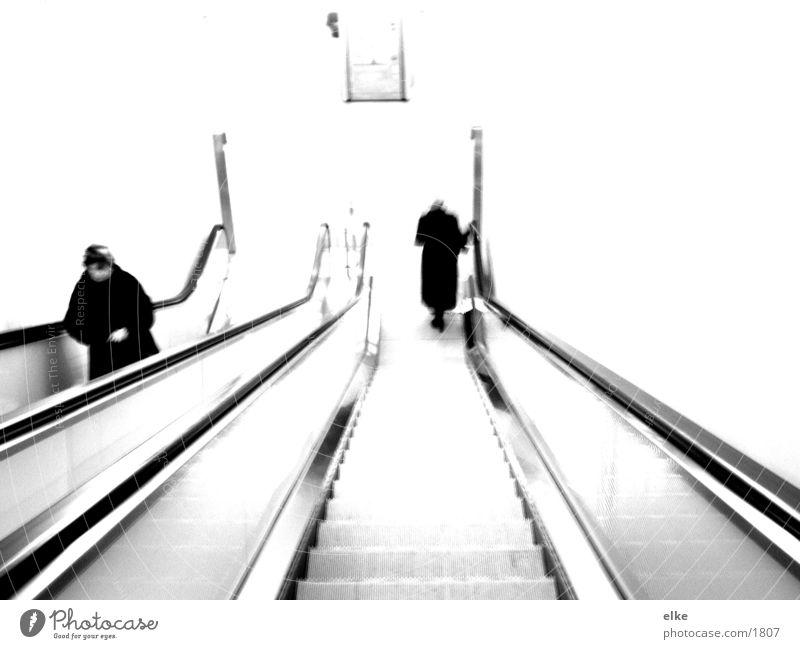 monotony of an escalator Escalator Style Human being Black & white photo