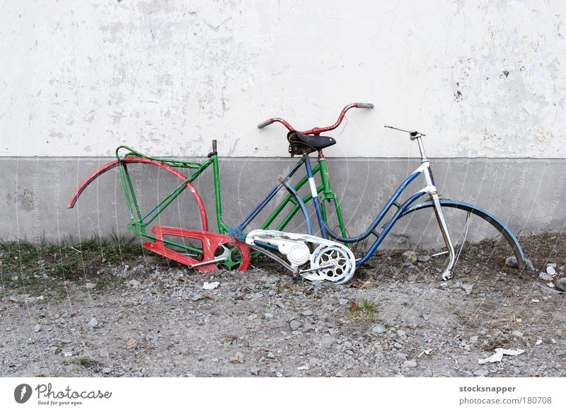 Bicycles Junk Trash Broken Cycle pieces trashed Vandalism stolen Damage samaged Wall (building) Wall (barrier) 2
