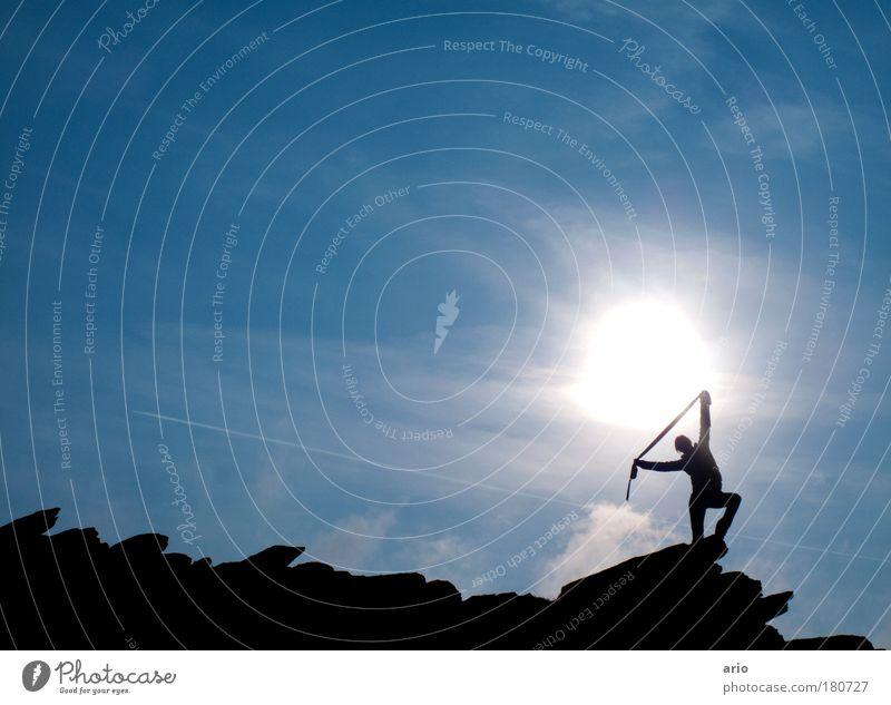 Towards the sun! Vacation & Travel Sun Hiking Nature Sky Mountain Scarf To enjoy Illuminate Infinity Athletic Blue Happy Happiness Joie de vivre (Vitality)